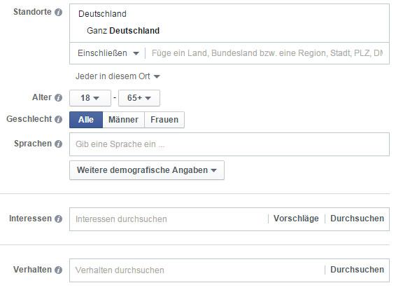 Zielgruppenauswahl Facebook