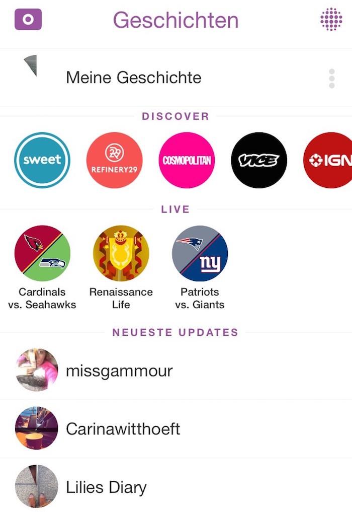 Snapchat Screen Geschichten